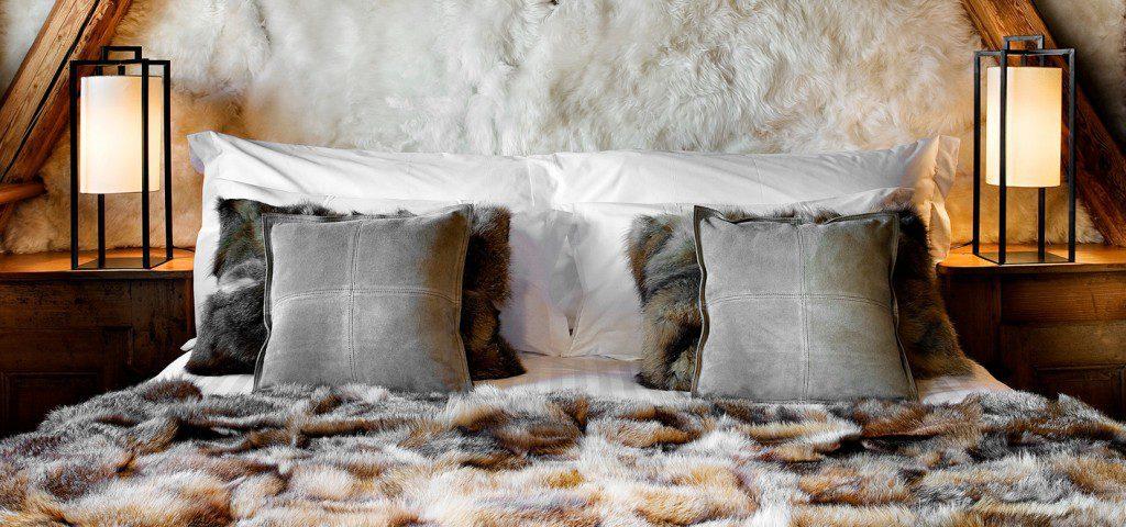 Tête lit cosy fourrure chalet