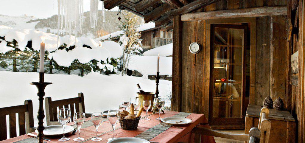 terrasse chalet neige