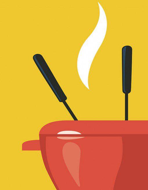 affiche caquelon à fondue vintage