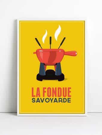 Affiche vintage fondue cadre blanc