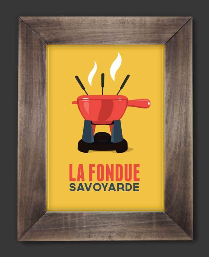 vintage poster fondue après ski