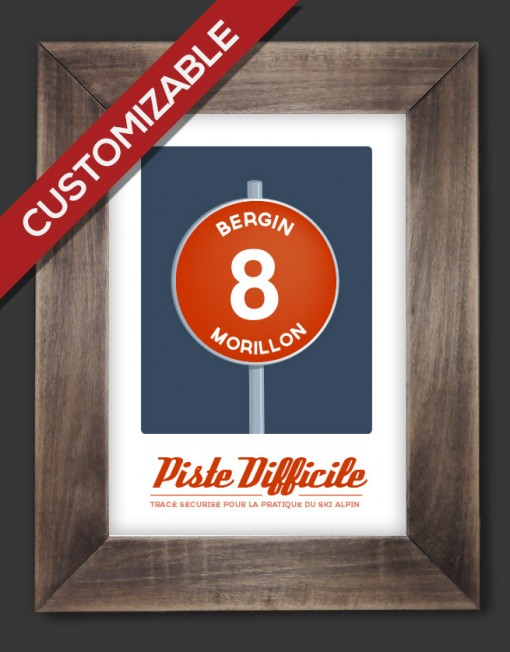 affiche vintage piste ski customizable