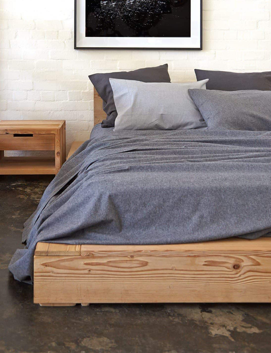 lit bois gris cosy