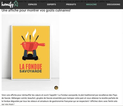 Parution Homify affiche la fondue